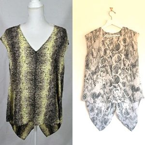 Rachel Roy Snakeskin Vneck Sleeveless Tunic Blouse